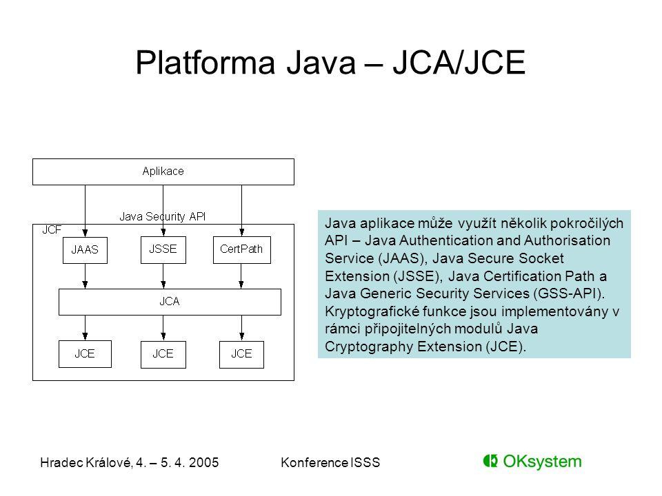 Hradec Králové, 4. – 5. 4. 2005Konference ISSS Platforma Java – JCA/JCE Java aplikace může využít několik pokročilých API – Java Authentication and Au