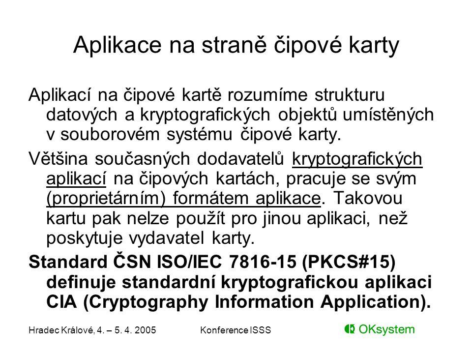 Hradec Králové, 4. – 5. 4. 2005Konference ISSS Aplikace na straně čipové karty Aplikací na čipové kartě rozumíme strukturu datových a kryptografických