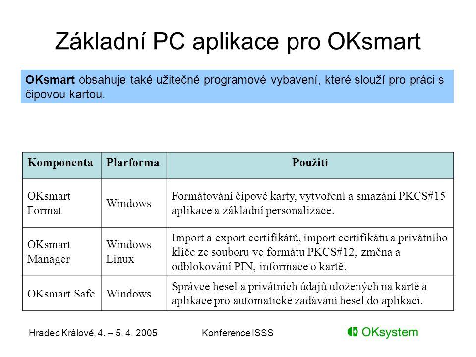 Hradec Králové, 4. – 5. 4. 2005Konference ISSS Základní PC aplikace pro OKsmart OKsmart obsahuje také užitečné programové vybavení, které slouží pro p