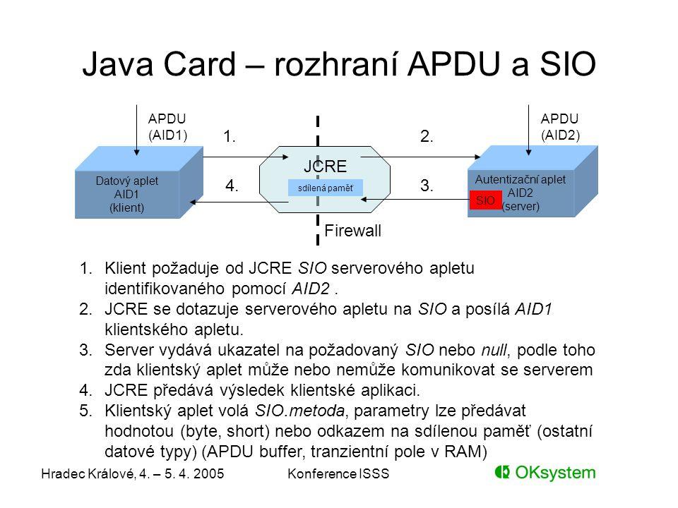 Hradec Králové, 4. – 5. 4. 2005Konference ISSS Java Card – rozhraní APDU a SIO Datový aplet AID1 (klient) Autentizační aplet AID2 (server) JCRE 1.Klie