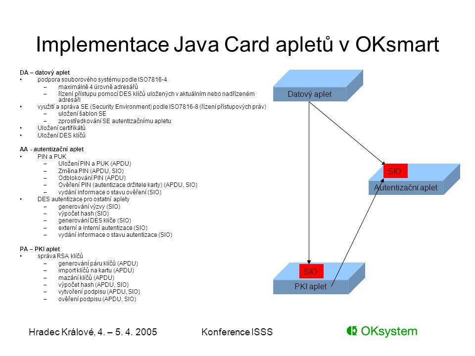 Hradec Králové, 4. – 5. 4. 2005Konference ISSS Implementace Java Card apletů v OKsmart DA – datový aplet podpora souborového systému podle ISO7816-4 –