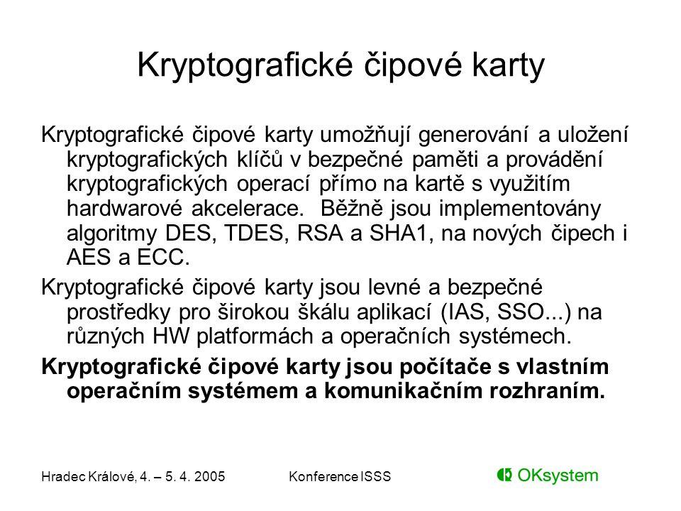 Hradec Králové, 4. – 5. 4. 2005Konference ISSS Kryptografické čipové karty Kryptografické čipové karty umožňují generování a uložení kryptografických