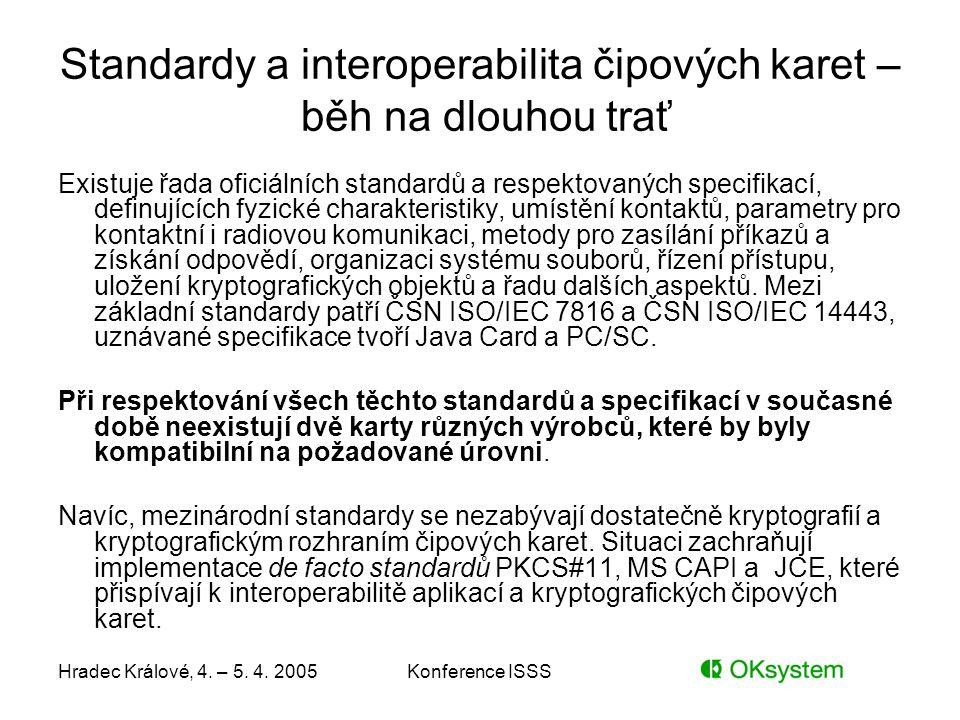 Hradec Králové, 4. – 5. 4. 2005Konference ISSS Standardy a interoperabilita čipových karet – běh na dlouhou trať Existuje řada oficiálních standardů a