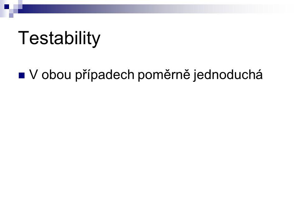 Testability V obou případech poměrně jednoduchá