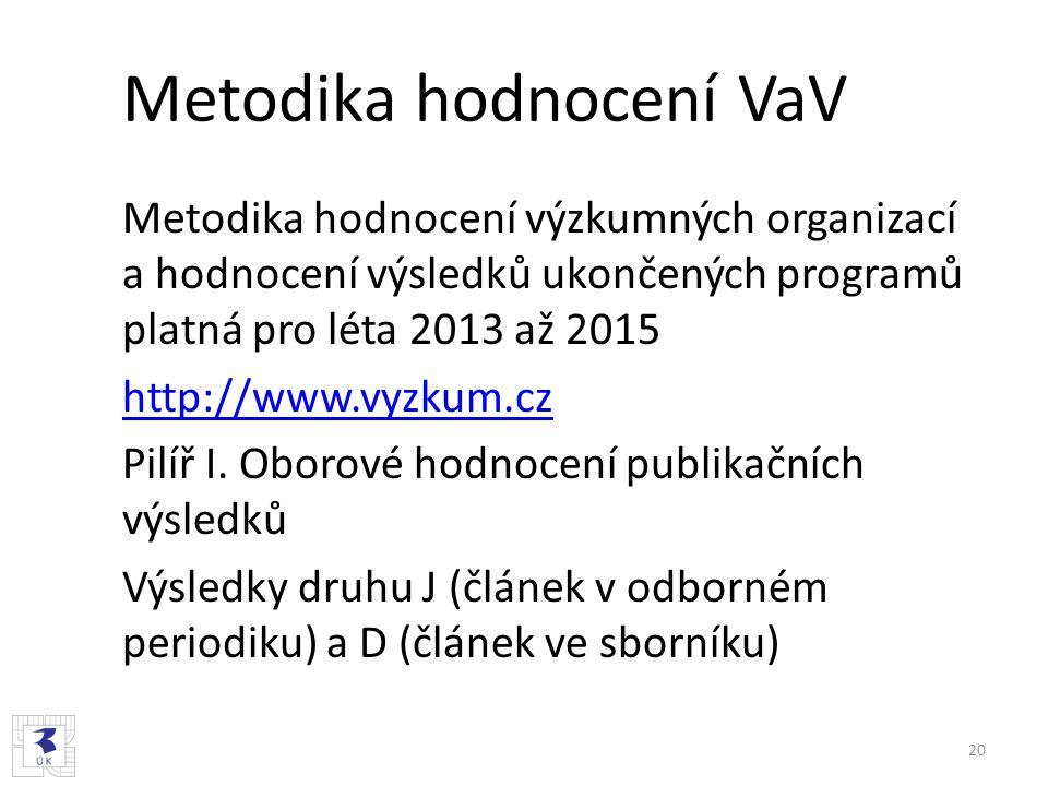 Metodika hodnocení VaV Metodika hodnocení výzkumných organizací a hodnocení výsledků ukončených programů platná pro léta 2013 až 2015 http://www.vyzku