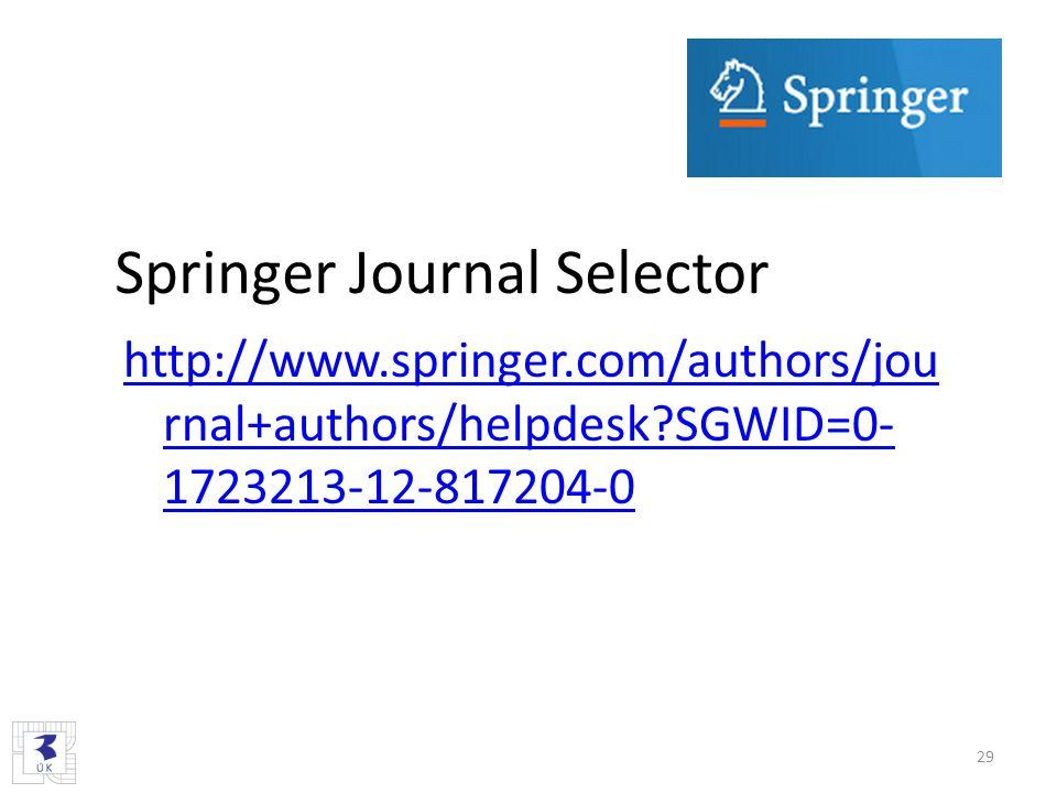 Springer Journal Selector http://www.springer.com/authors/jou rnal+authors/helpdesk?SGWID=0- 1723213-12-817204-0 29