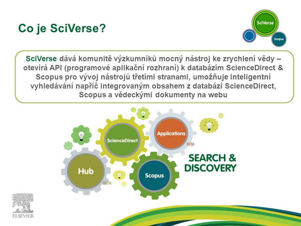 Co je SciVerse? SciVerse dává komunitě výzkumníků mocný nástroj ke zrychlení vědy – otevírá API (programové aplikační rozhraní) k databázím ScienceDir