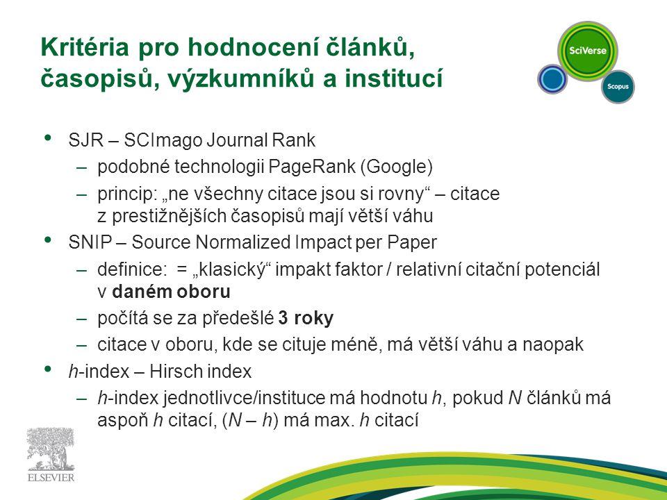 """Kritéria pro hodnocení článků, časopisů, výzkumníků a institucí SJR – SCImago Journal Rank –podobné technologii PageRank (Google) –princip: """"ne všechn"""