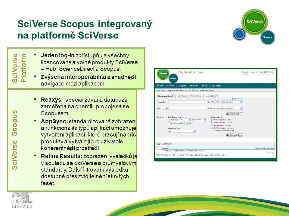 SciVerse Scopus SciVerse Platform SciVerse Scopus integrovaný na platformě SciVerse Jeden log-in zpřístupňuje všechny licencované a volné produkty SciVerse – Hub, ScienceDirect a Scopus.