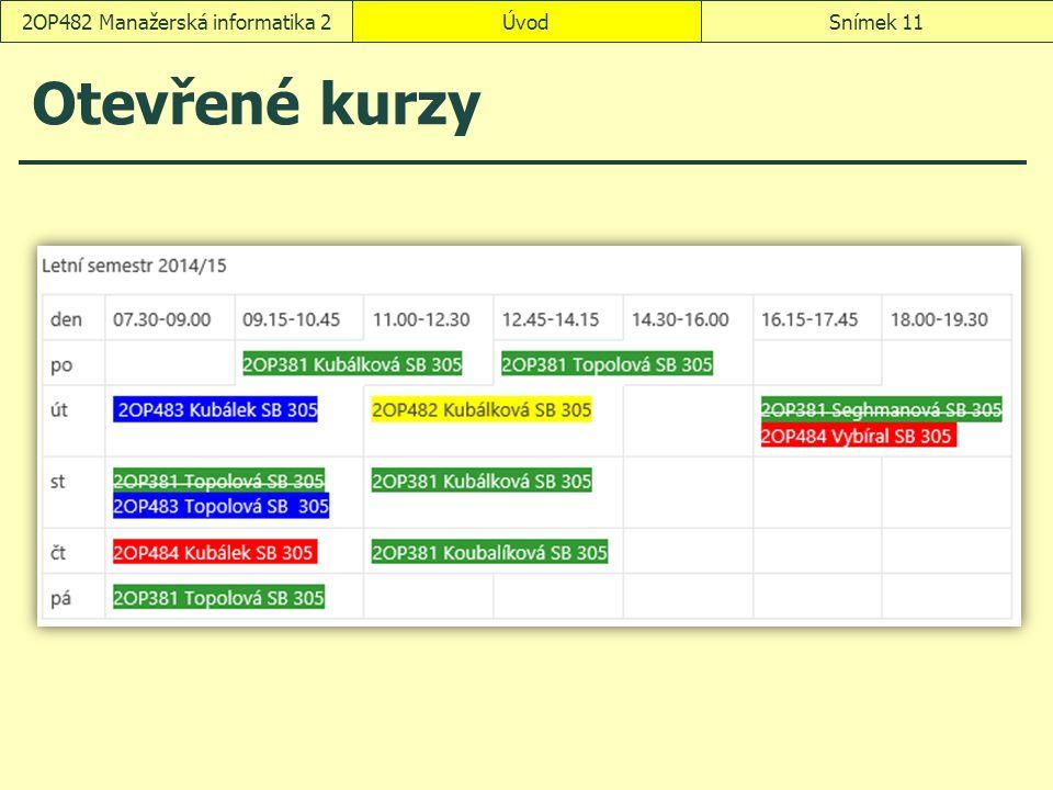 Otevřené kurzy ÚvodSnímek 112OP482 Manažerská informatika 2
