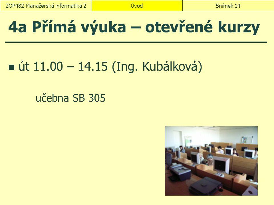 ÚvodSnímek 142OP482 Manažerská informatika 2 4a Přímá výuka – otevřené kurzy út 11.00 – 14.15 (Ing.