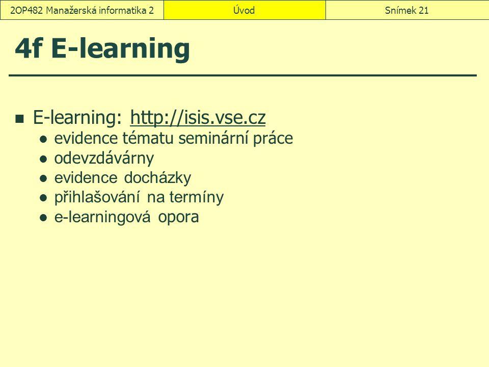 ÚvodSnímek 212OP482 Manažerská informatika 2 4f E-learning E-learning: http://isis.vse.czhttp://isis.vse.cz evidence tématu seminární práce odevzdávárny evidence docházky přihlašování na termíny e-learningová opora