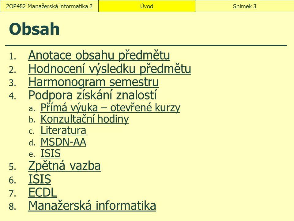ÚvodSnímek 32OP482 Manažerská informatika 2 Obsah 1.