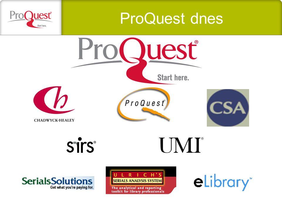 Poslání ProQuestu : pomáhat lidem hledat, získávat a používat informace Kvalitní informace Snadný přístup Vynikající zpracování (indexace, abstrakty, výběr obsahu) Přizpůsobené aplikace různým potřebám uživatelů