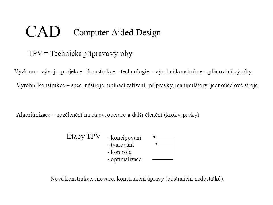 CAD Computer Aided Design TPV = Technická příprava výroby Výzkum – vývoj – projekce – konstrukce – technologie – výrobní konstrukce – plánování výroby Algoritmizace – rozčlenění na etapy, operace a další členění (kroky, prvky) Etapy TPV - koncipování - tvarování - kontrola - optimalizace Nová konstrukce, inovace, konstrukční úpravy (odstranění nedostatků).