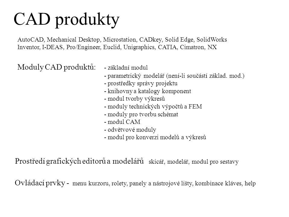 CAD produkty AutoCAD, Mechanical Desktop, Microstation, CADkey, Solid Edge, SolidWorks Inventor, I-DEAS, Pro/Engineer, Euclid, Unigraphics, CATIA, Cimatron, NX Moduly CAD produktů: - základní modul - parametrický modelář (není-li součástí základ.