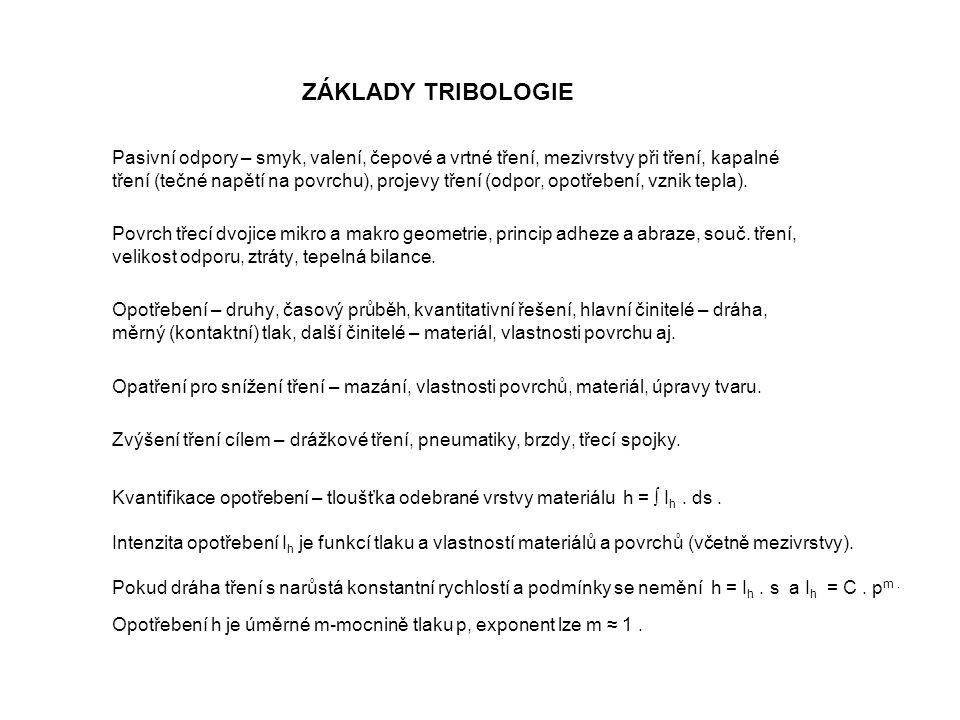 ZÁKLADY TRIBOLOGIE Pasivní odpory – smyk, valení, čepové a vrtné tření, mezivrstvy při tření, kapalné tření (tečné napětí na povrchu), projevy tření (