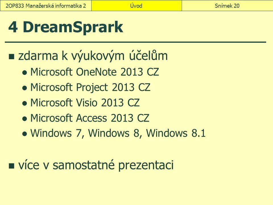 ÚvodSnímek 202OP833 Manažerská informatika 2 4 DreamSprark zdarma k výukovým účelům Microsoft OneNote 2013 CZ Microsoft Project 2013 CZ Microsoft Visi
