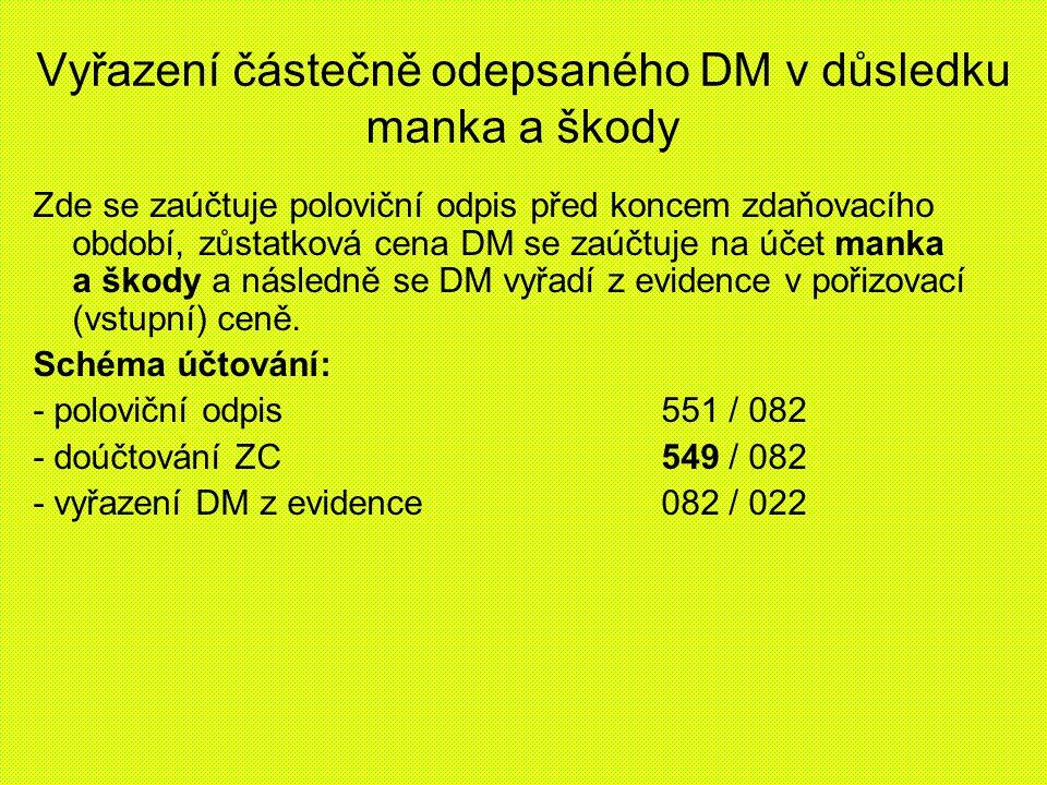 Vyřazení částečně odepsaného DM v důsledku manka a škody Zde se zaúčtuje poloviční odpis před koncem zdaňovacího období, zůstatková cena DM se zaúčtuje na účet manka a škody a následně se DM vyřadí z evidence v pořizovací (vstupní) ceně.