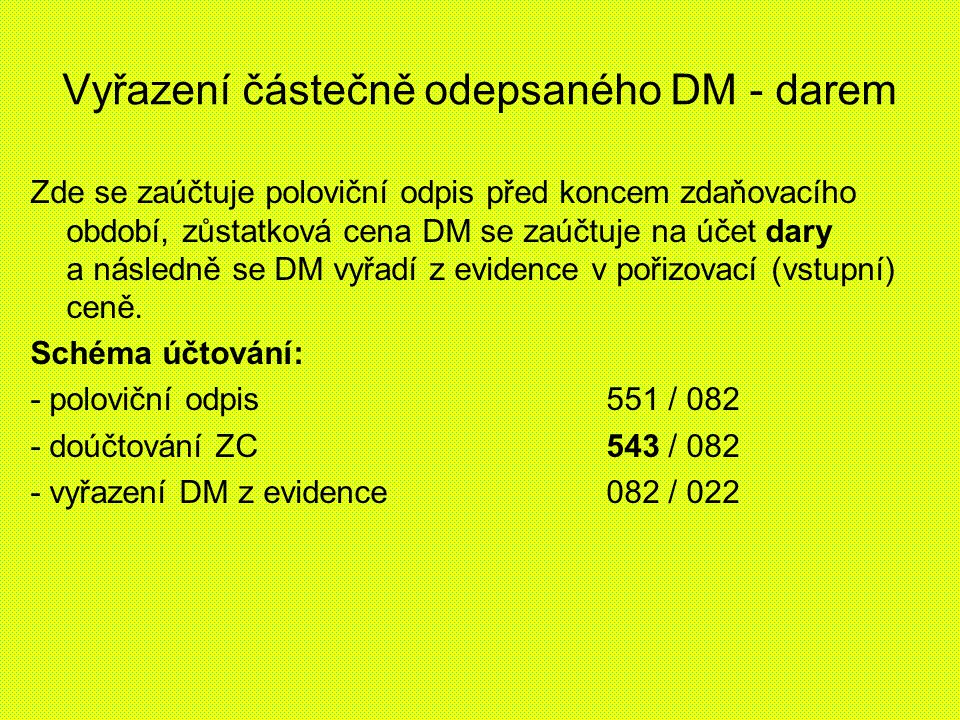 Vyřazení částečně odepsaného DM - darem Zde se zaúčtuje poloviční odpis před koncem zdaňovacího období, zůstatková cena DM se zaúčtuje na účet dary a následně se DM vyřadí z evidence v pořizovací (vstupní) ceně.