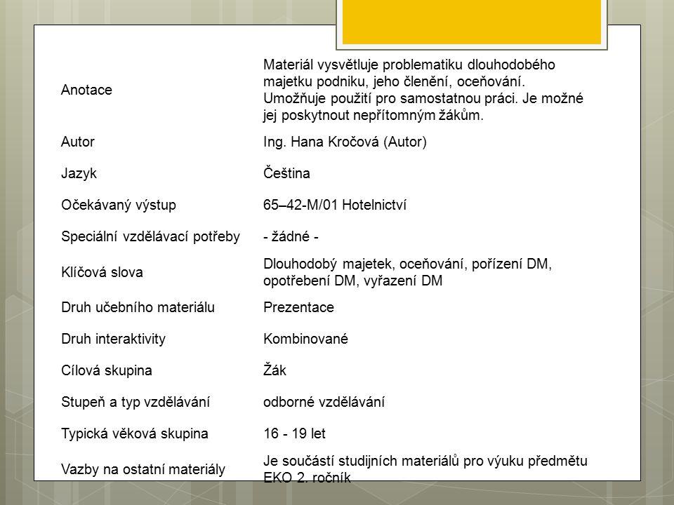 Anotace Materiál vysvětluje problematiku dlouhodobého majetku podniku, jeho členění, oceňování.