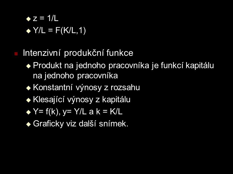  z = 1/L  Y/L = F(K/L,1) Intenzivní produkční funkce  Produkt na jednoho pracovníka je funkcí kapitálu na jednoho pracovníka  Konstantní výnosy z