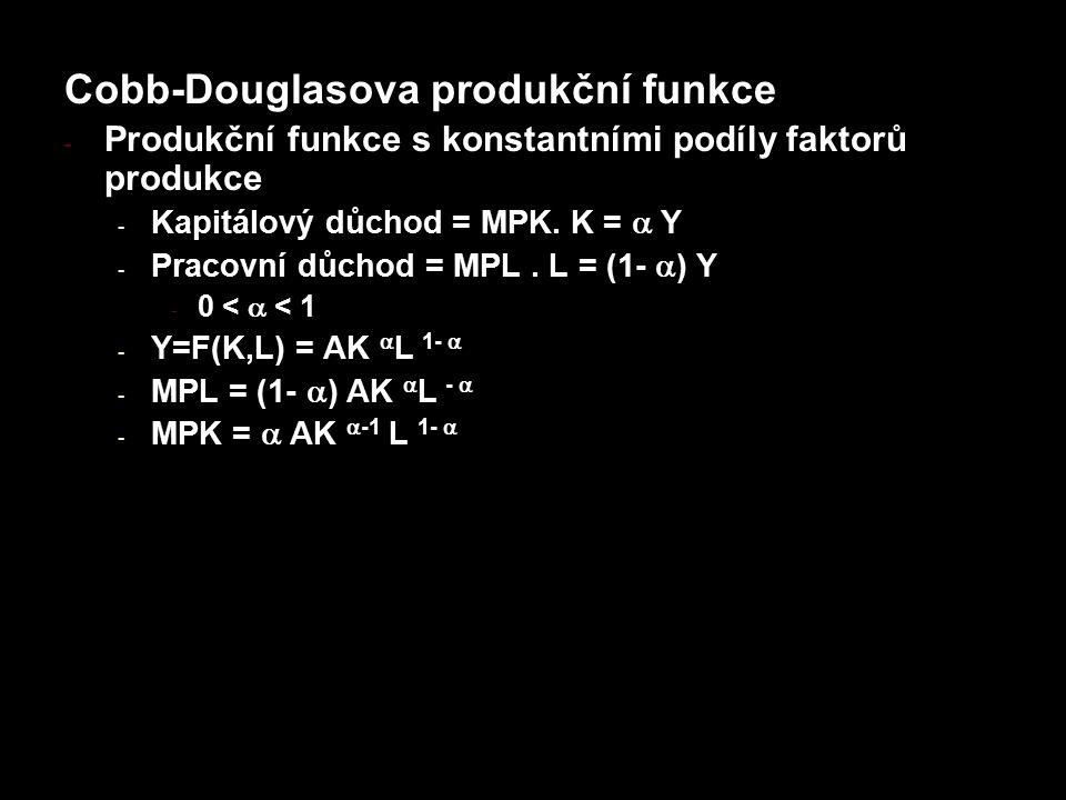 Cobb-Douglasova produkční funkce - Produkční funkce s konstantními podíly faktorů produkce - Kapitálový důchod = MPK. K =  Y - Pracovní důchod = MPL.