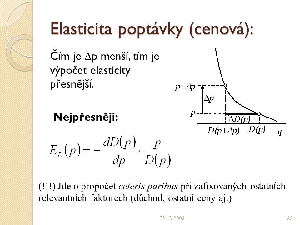 Elasticita poptávky (cenová): Čím je  p menší, tím je výpočet elasticity přesnější. Nejpřesněji: 22.10.200923 (!!!) Jde o propočet ceteris paribus př