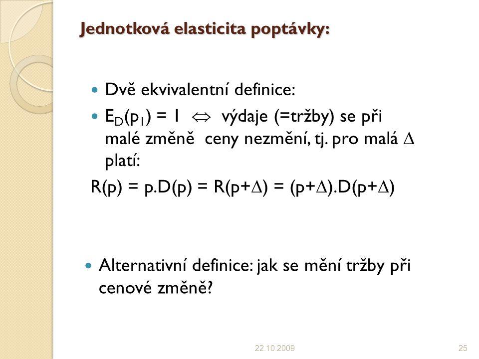 Jednotková elasticita poptávky: Dvě ekvivalentní definice: E D (p 1 ) = 1  výdaje (=tržby) se při malé změně ceny nezmění, tj. pro malá  platí: R(p)