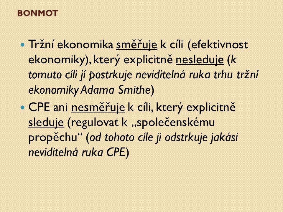 BONMOT Tržní ekonomika směřuje k cíli (efektivnost ekonomiky), který explicitně nesleduje (k tomuto cíli jí postrkuje neviditelná ruka trhu tržní ekon