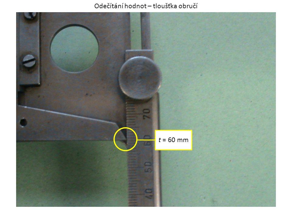 t = 60 mm Odečítání hodnot – tloušťka obručí