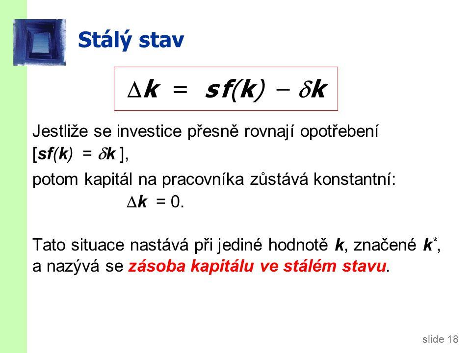 slide 18 Stálý stav Jestliže se investice přesně rovnají opotřebení [sf(k) =  k ], potom kapitál na pracovníka zůstává konstantní:  k = 0. Tato situ