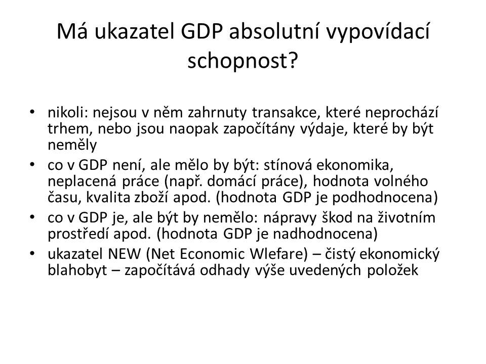 Má ukazatel GDP absolutní vypovídací schopnost? nikoli: nejsou v něm zahrnuty transakce, které neprochází trhem, nebo jsou naopak započítány výdaje, k