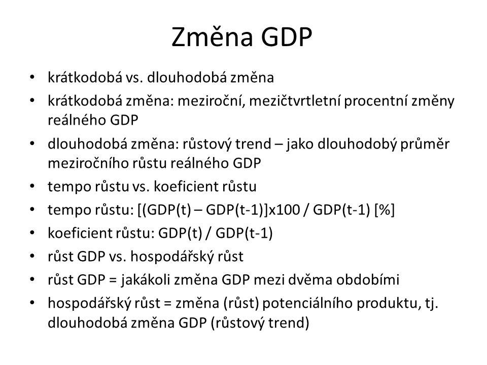 Změna GDP krátkodobá vs. dlouhodobá změna krátkodobá změna: meziroční, mezičtvrtletní procentní změny reálného GDP dlouhodobá změna: růstový trend – j
