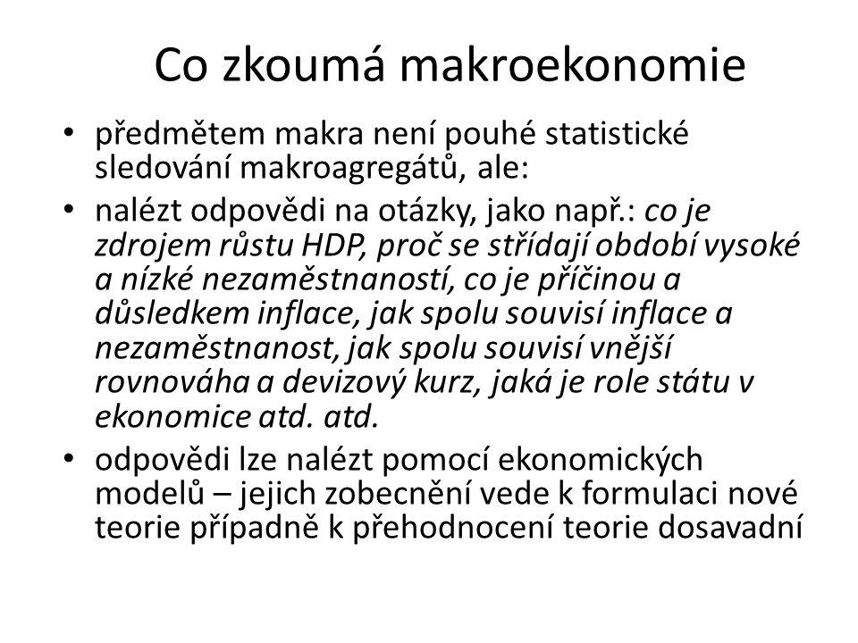 předmětem makra není pouhé statistické sledování makroagregátů, ale: nalézt odpovědi na otázky, jako např.: co je zdrojem růstu HDP, proč se střídají