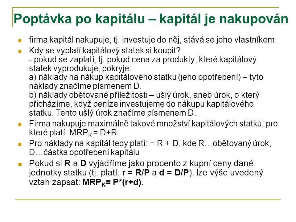Poptávka po kapitálu – kapitál je najímán r K rtrt trh kapitálu firma D S MFC K =AFC K = r =s K rtrt KtKt MRP K =d K r K S'S' r t+1 K t+1 čím nižší ná