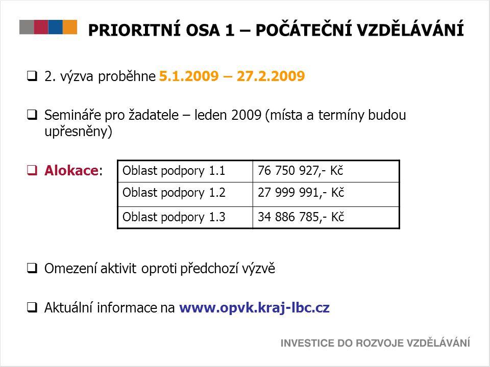 PRIORITNÍ OSA 1 – POČÁTEČNÍ VZDĚLÁVÁNÍ  2. výzva proběhne 5.1.2009 – 27.2.2009  Semináře pro žadatele – leden 2009 (místa a termíny budou upřesněny)