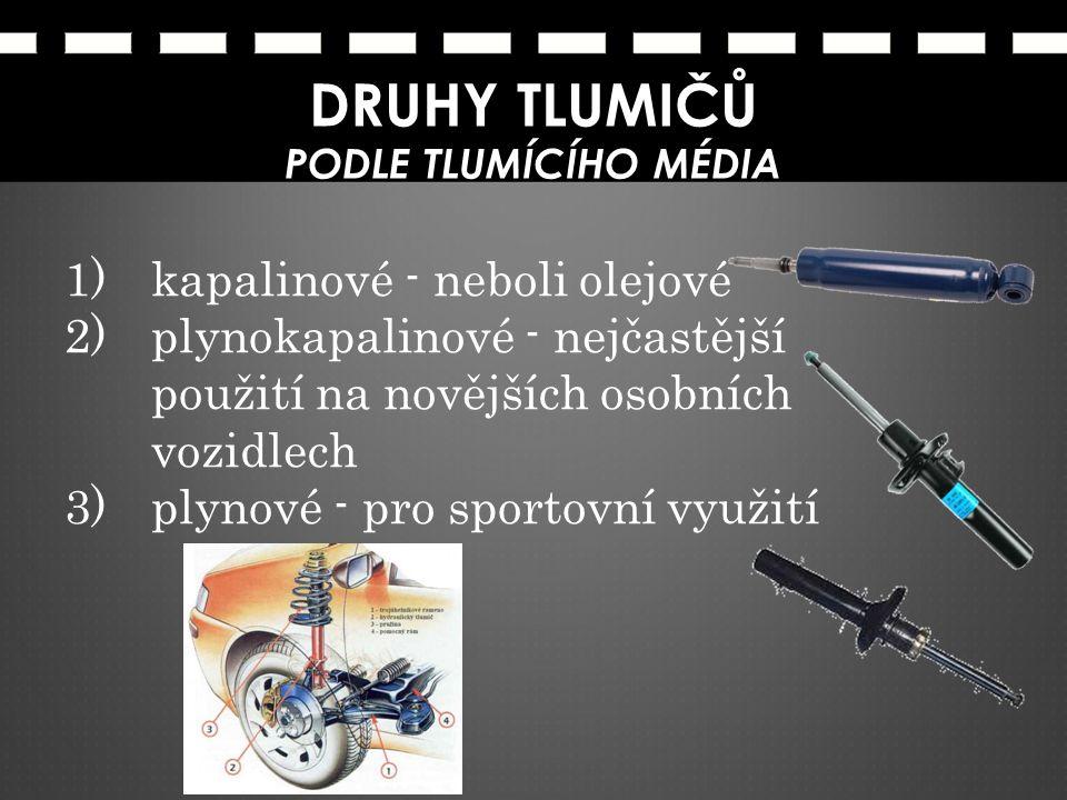 1)kapalinové - neboli olejové 2)plynokapalinové - nejčastější použití na novějších osobních vozidlech 3)plynové - pro sportovní využití DRUHY TLUMIČŮ