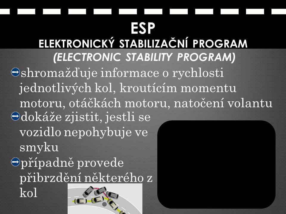ESP ELEKTRONICKÝ STABILIZAČNÍ PROGRAM (ELECTRONIC STABILITY PROGRAM) shromažďuje informace o rychlosti jednotlivých kol, kroutícím momentu motoru, otá