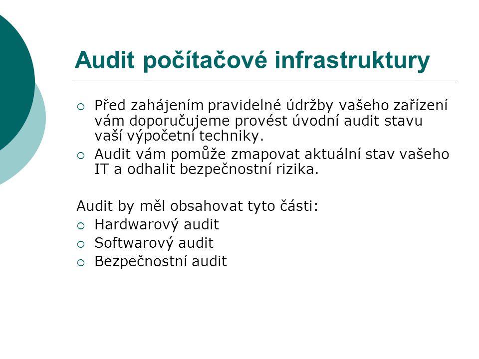 Audit počítačové infrastruktury  Před zahájením pravidelné údržby vašeho zařízení vám doporučujeme provést úvodní audit stavu vaší výpočetní techniky.