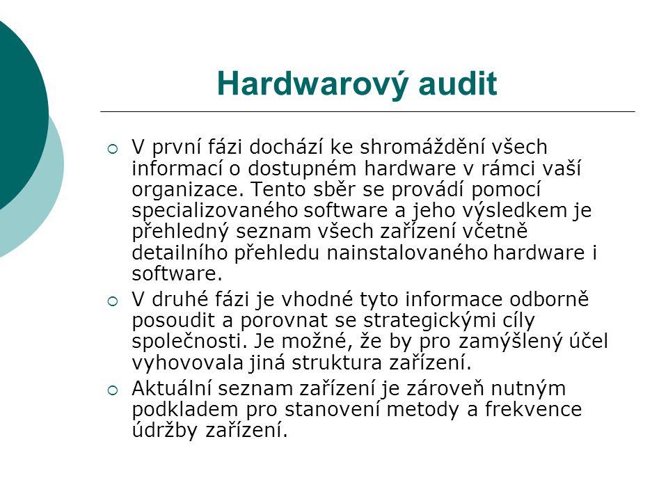 Hardwarový audit  V první fázi dochází ke shromáždění všech informací o dostupném hardware v rámci vaší organizace.