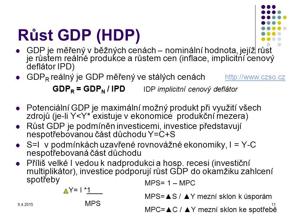 9.4.201511 Růst GDP (HDP) GDP je měřený v běžných cenách – nominální hodnota, jejíž růst je růstem reálné produkce a růstem cen (inflace, implicitní c