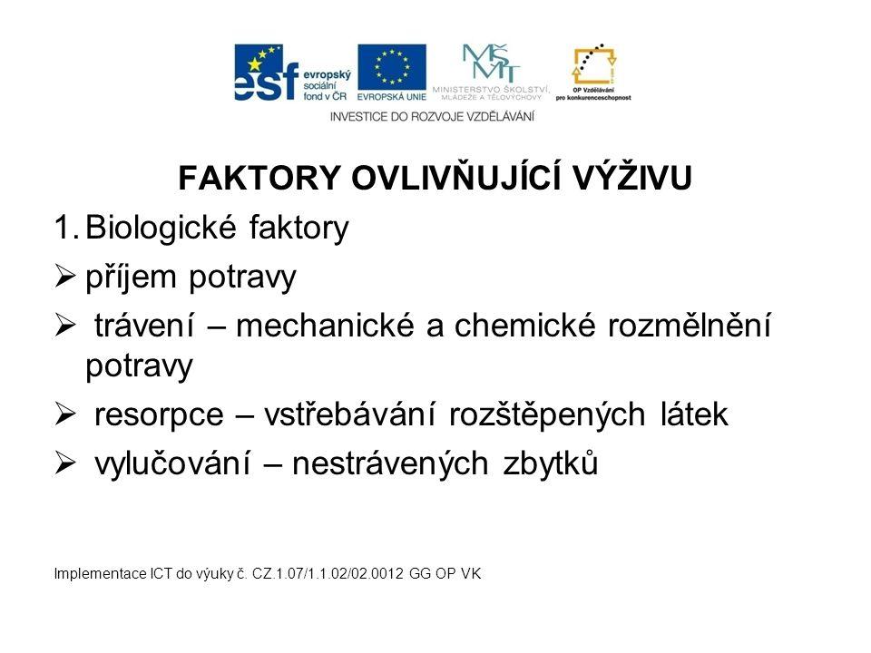 FAKTORY OVLIVŇUJÍCÍ VÝŽIVU 1.Biologické faktory  příjem potravy  trávení – mechanické a chemické rozmělnění potravy  resorpce – vstřebávání rozštěp