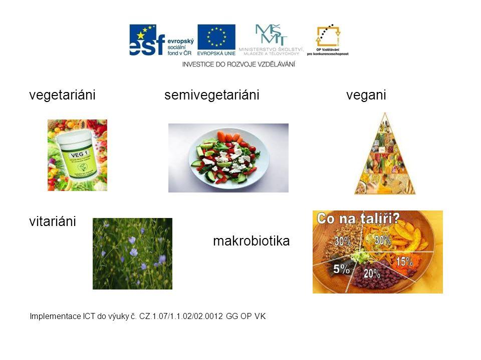 vegetariáni semivegetariáni vegani vitariáni makrobiotika Implementace ICT do výuky č. CZ.1.07/1.1.02/02.0012 GG OP VK