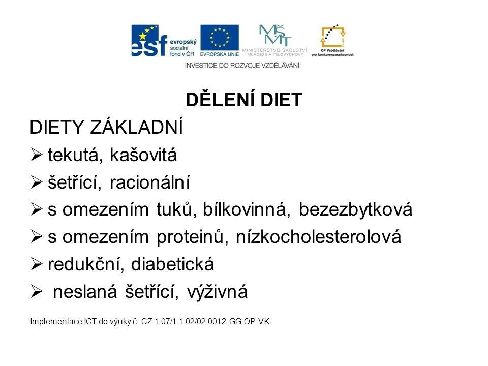 DĚLENÍ DIET DIETY ZÁKLADNÍ  tekutá, kašovitá  šetřící, racionální  s omezením tuků, bílkovinná, bezezbytková  s omezením proteinů, nízkocholestero