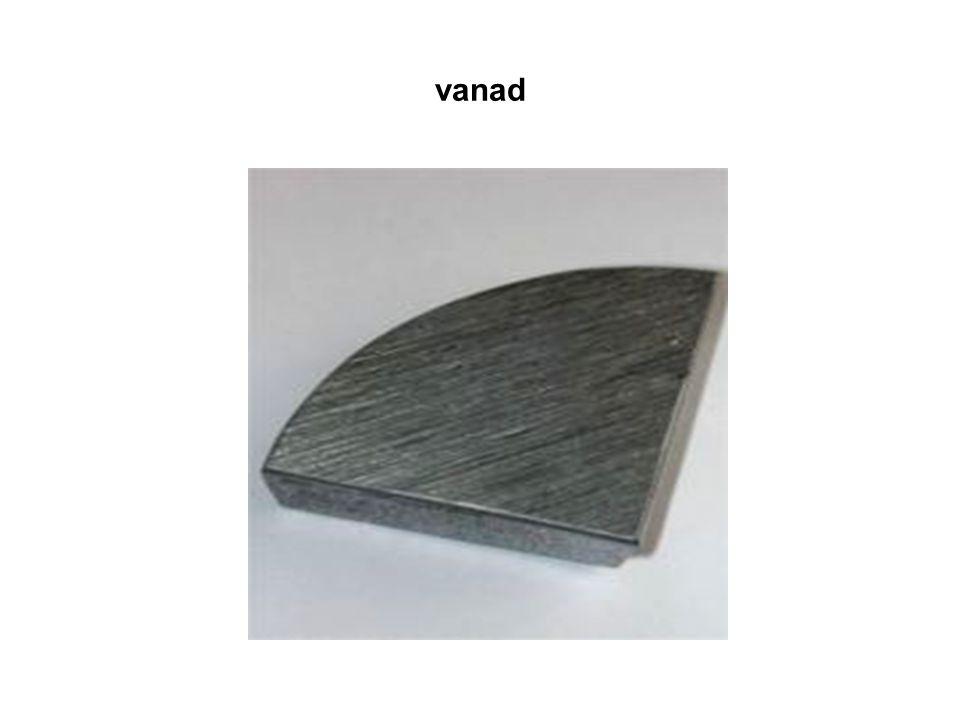 využití: přísada do oceli - dodává jí, zvláště za vysokých teplot, větší odolnost proti opotřebení (výroba pružin, nožů vysoké řezné rychlosti)