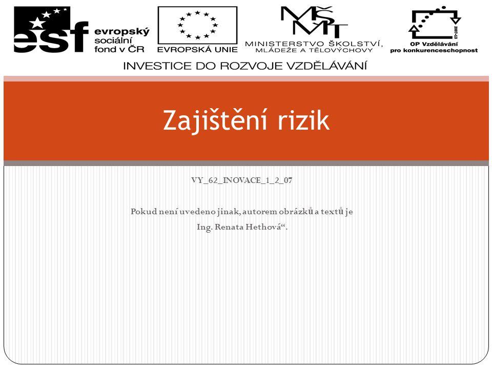 Zajištění proti riziku Základ kvalitního finančního plánu.