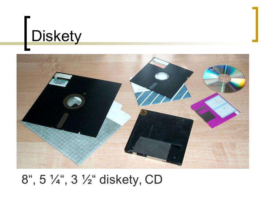 CD-ROM, CD-RW mechanika CD-ROM (Compact Disc Read Only Memory) – pouze pro čtení, optické čtení dat (pomocí laseru) Připojena datovým kabelem k základní desce, napájení ze zdroje napájení Rychlost čtení (1x až 52x) – n-rychlostní, kde číslovka vyjadřuje násobek datového toku při čtení hudebního CD, tj.