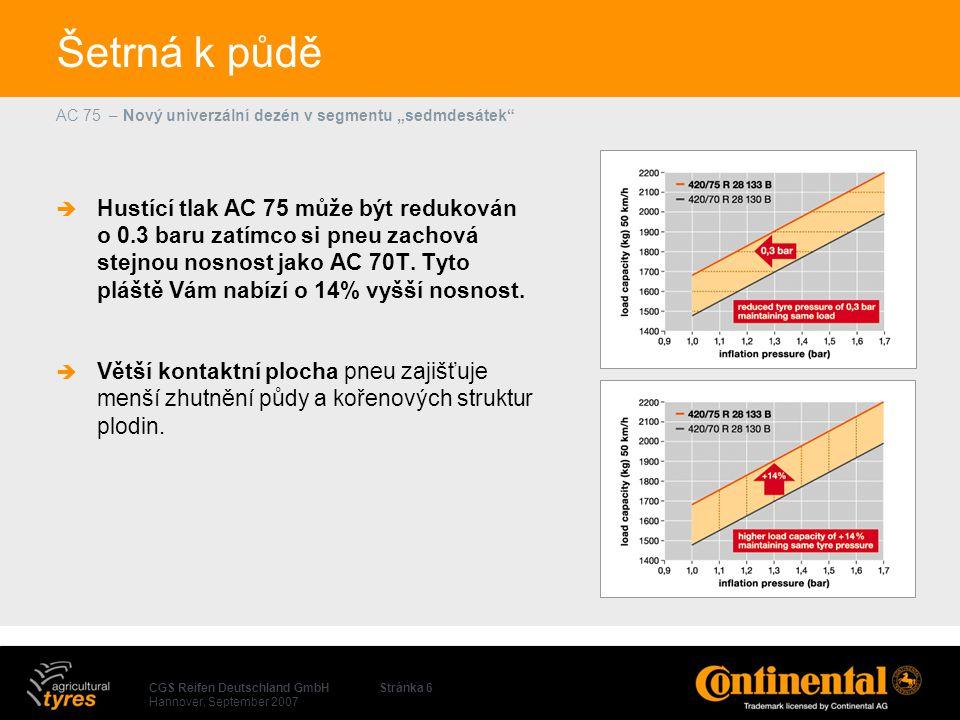 """CGS Reifen Deutschland GmbH Hannover, September 2007 AC 75 – Nový univerzální dezén v segmentu """"sedmdesátek Stránka 6 Šetrná k půdě  Hustící tlak AC 75 může být redukován o 0.3 baru zatímco si pneu zachová stejnou nosnost jako AC 70T."""