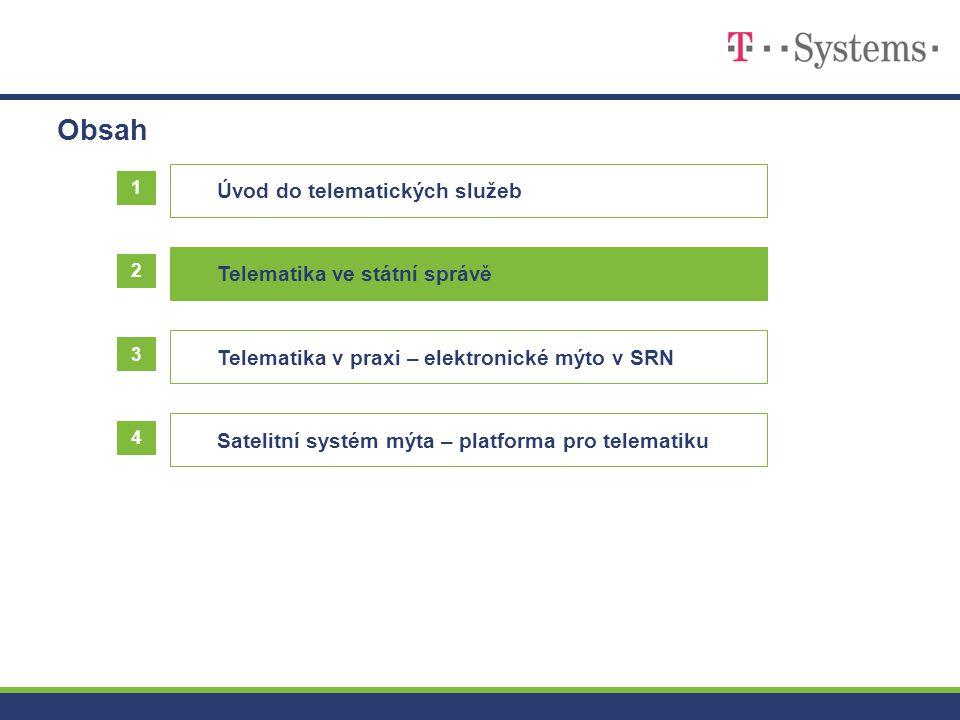 Obsah Úvod do telematických služeb 1 2 3 Telematika v praxi – elektronické mýto v SRN Satelitní systém mýta – platforma pro telematiku Telematika ve s